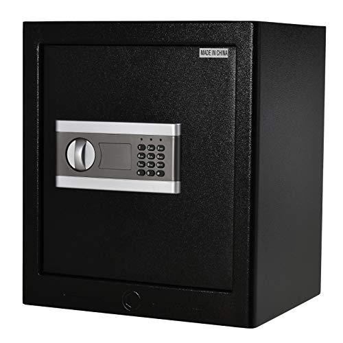 HOMCOM Cassaforte Elettronica in Acciaio Nero, con Chiave e 2 Codici PIN, Fissaggio a Muro o Pavimento, 38x31x42.7cm