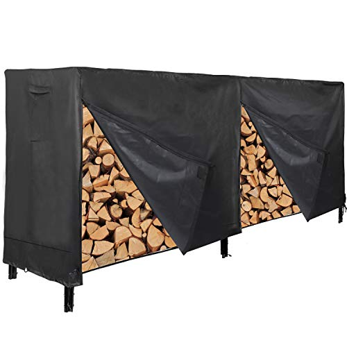 REDCAMP 8 Foot Firewood Rack Cover Waterproof Sturdy Oxford Heavy Duty Outdoor Wood Log Cover for Firewood Black