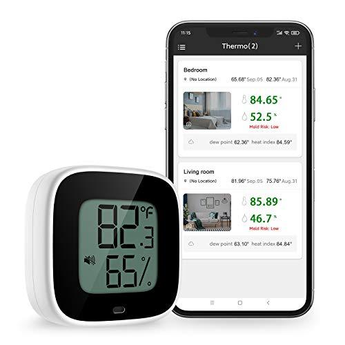 【Neueste】Brifit Bluetooth Thermometer Hygrometer, Thermometer Hygrometer Innen mit LCD Bildschirm, Kabelloses Temperatursensor mit Datenspeicherung, Alarmfunktion, für Zigarre, Wein, Gewächshaus