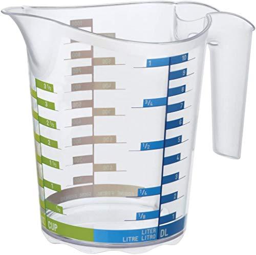 Rotho Domino Tazza di misura 1l con scala graduata, Plastica PP senza BPA, Transparente, 1l 18.5 x 12.4 x 15.7 cm