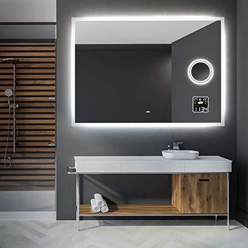Artforma 120 x 80 cm Espejo de Baño con Iluminación LED - Luz Espejo de Pared con Accesorios - Interruptor táctil + Estación meteorológica + Espejito cosmético LED + Altavoz Bluetooth
