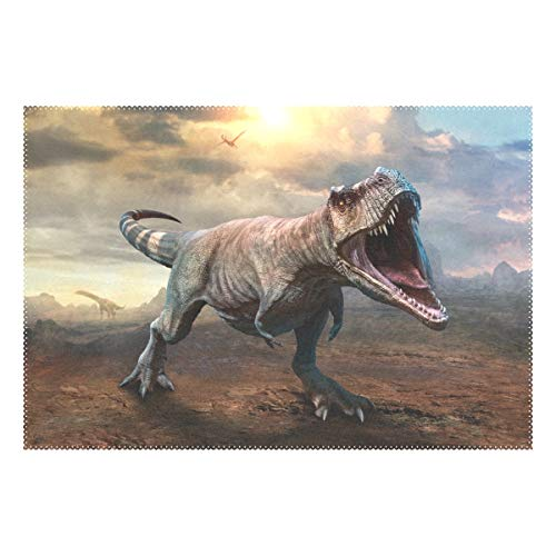 BKEOY Personalised Place Mats 3D Tyrannosaurus Dinosaur Placemats Table Mats Non-slip Heat-resistant Durable Washable