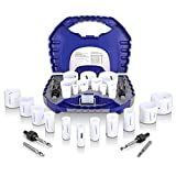 Bi-Metal Hole Saw Kit, 17 Piece General Purpose 3/4' to 2-1/2' Set with Mandrels, Durable High Speed Steel (HSS). Fast Cut Clean, Smooth and Precise Holes Through PVC, Metal, Wood, Plastic, Drywall