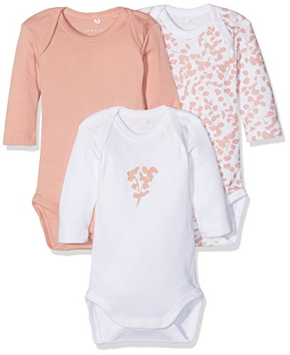 NAME IT Baby-Mädchen NBFBODY 3P LS NOOS Body, Mehrfarbig (Rose Tan), 56 (3er Pack)