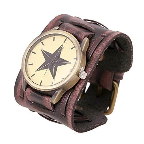 Hombres Vintage Steampunk Relojes de Pulsera Hebilla Simple con Correa de Cuero Reloj Hip Hop Moda Gótica Gran Esfera Relojes de Pulsera Brazalete