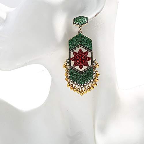 jiheousty Gioielli Etnici Vintage Indiano Jhumka Bell Nappa Orecchini Pendenti Colorati Orecchini Etnici antichi Gioielli Moda Donna
