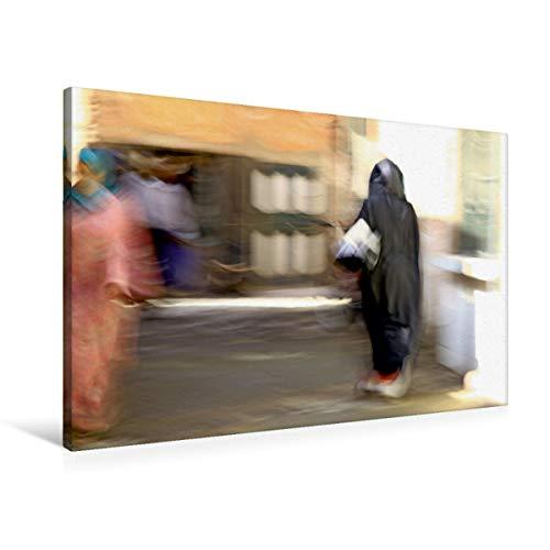 Marrakesch Calvendo Orte - Lienzo (90 x 60 cm, horizontal), diseño de mujer en la compra en el Souk de Marrakesch (CALVENDO Orte);Calvendo Orte