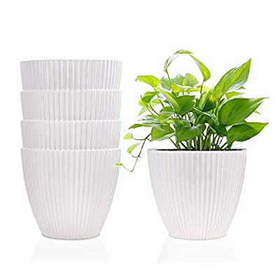6 Inch Plastic Planters Indoor Flower Plant Pots, Set of 5 Modern Decorative Gardening Containers for Succulents, Flowers, Herbs, Cactus, House and Office Décor, White