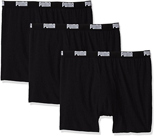 PUMA Men's 3 Pack 100% Cotton Boxer Brief, Black, Medium
