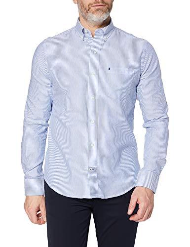 Izod Oxford Stripe BD Shirt Camisa Abotonada, Azul (Turkish Sea), S/M para Hombre