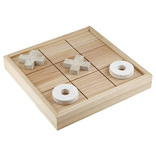 3D Wooden Board Game for Families, Tic-Tac-Toe Decorative Set with Storage, 13 X 13 Inches