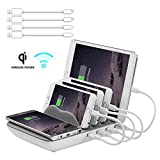 Faster Charging Station, Hometall 5-in-1 Multiple Phone Dock Stand with 4 USB Ports(Free 4 Cables) and 10W QI Wireless Charging Pad, Compatible for Samsung, iPhone, IPads,Other Electronics(Grey)