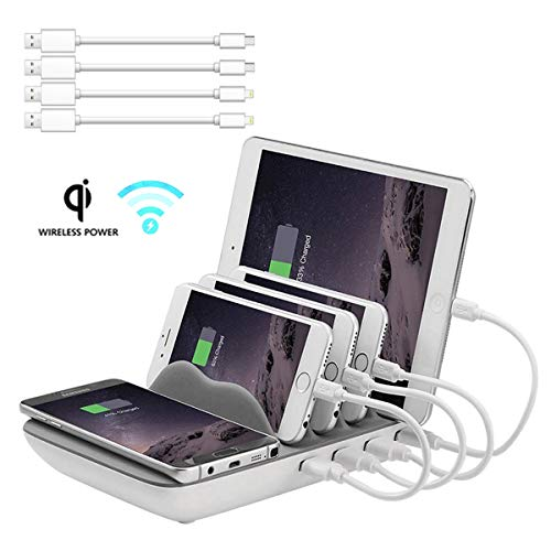 Charging Station for Multiple Devices Wireless, Hometall 5-in-1 Multiple Phone Dock Stand with 4 USB Ports(4 Cables) and 10W QI Wireless Charging Pad, Compatible for iOS, Android, Samsung(Grey)