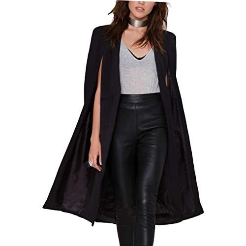 Giacca casual da donna stile mantello senza fibbia scialle giacca a vento streetwear europeo e americano moda tinta unita autunno e inverno S