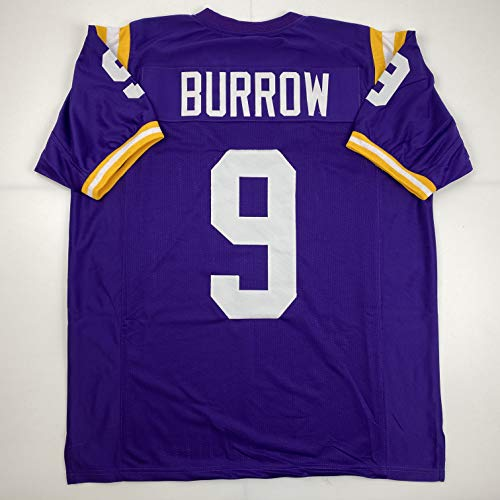 Unsigned Joe Burrow LSU Purple Custom Stitched College Football Jersey Size Men's XL New No Brands/Logos