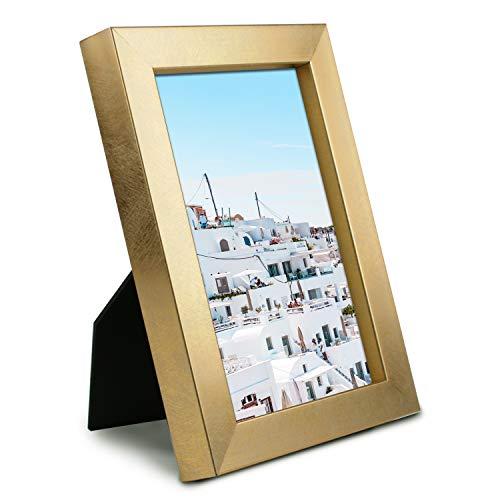 MIMOSA MOMENTS Marco de fotos metálico con acabado satinado cepillado, pantalla de fotos para escritorio (oro, 4 x 6)