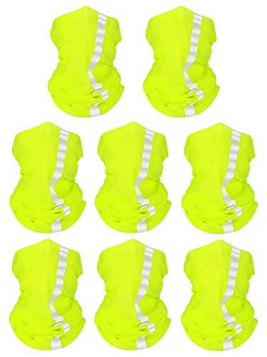 8 Pieces Summer Bandana UV Protection Face Neck Scarf Reflective Multi-purpose Headdress (Fluorescent Yellow, Polyester)