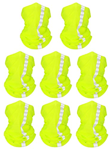 8 Pieces Summer Bandana UV Protection Face Neck Scarf Reflective Multi-purpose Headdress (Fluorescent Yellow, Polyester)