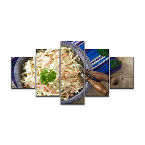 Night in U.S Canvas Art Wall Coleslaw Salad from Cabbage and Carrots with Dressing Mayonnaise Paintings Vintage Prints Home Decor Artworks Gift Ready to Hang for Living Room 5 Panels Large Size