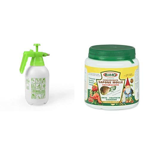 Euronovita EN-80656 Pompa 2 Litri Spruzzino Manuale Nebulizzatore per Giardino Orto e Fiori, Verde, 20x20x28 cm & Bioki Sapone Molle B