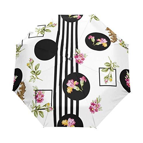 SUHETI Regenschirm Taschenschirm,Blumen Muster Textiltapete füllt Abdeckungen,Auf Zu Automatik,windsicher,stabil