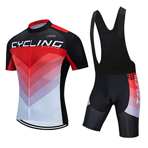 radtrikot sets herren fahrrad top mountainbike trikot Bib shorts anzug fahrrad shirt rennrad bekleidung reiten rennrad mtb kleidung sommer radfahren rot xl