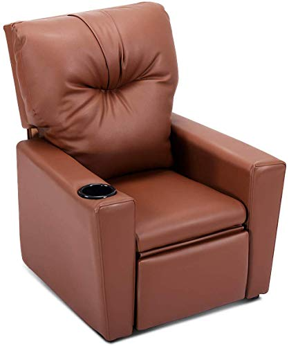 HOMGX Kids Chair, Children Cup Holder, Manual PU Leather Reclining Seat, Brown Sofas