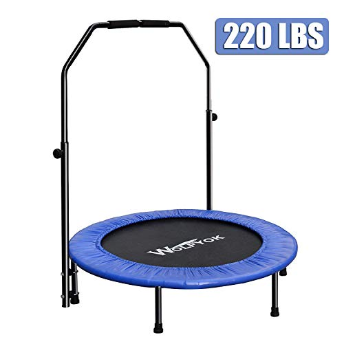 wolfyok Exercise Trampoline with Safety Pad Adjustable Handle Bar Portable & Foldable Rebounder for Adults Kids Body Fitness Training Workout Max Load 220 lbs