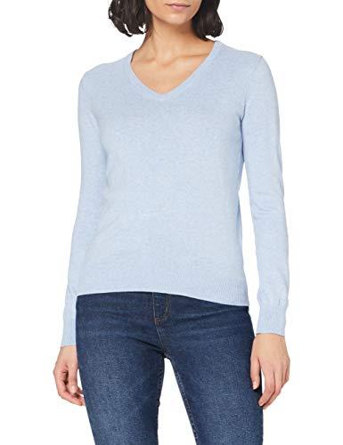 Marca Amazon - MERAKI Jersey de Algodón Mujer Cuello Pico, Azul (Ocean Blue), 42, Label: L