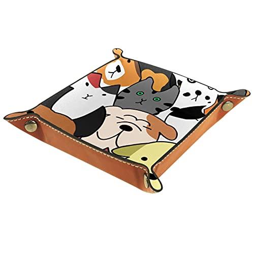 XiangHeFu Bandeja de Cuero Animal de Dibujos Animados Almacenamiento Bandeja Organizador Bandeja de Almacenamiento Multifunción de Piel para Relojes,Llaves,Teléfono,Monedas