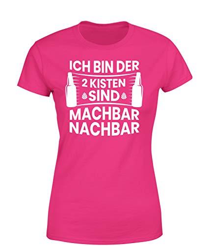 Ich Bin der 2 Kisten sind Machbar Nachbar T-Shirt Damen, Farbe: Pink, Größe: Medium