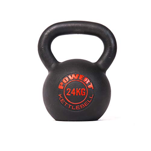 POWERT Cast Iron Kettlebell|Premium Quality Powder Coated|Ergonomic Design|Great for Weight Lifting Workout & Core Strength Training& Muscle Building (H-24KG)