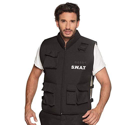 Boland 00489 - Kostüm Weste SWAT, schwarz, Polizei, Kommando, SEK, Karneval, Halloween, Fasching, Mottoparty, Verkleidung, Theater