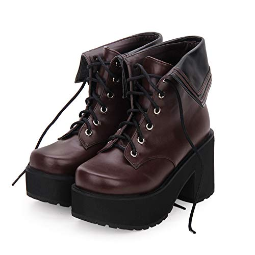 DJDLNK Lolita Laarzen Hoge Hakken Ronde Teen Dik-Sole Sponge Lapel Navy Lace Up Boot