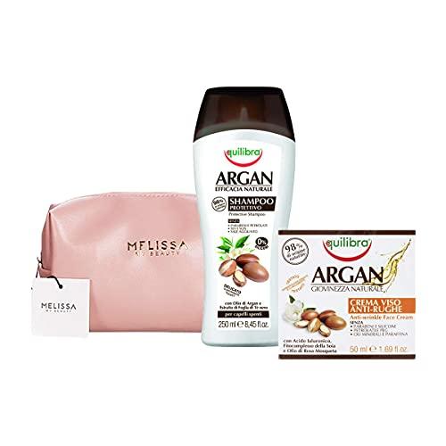 EQUILIBRA Kit Argan : Shampoo Protettivo - Crema Viso Anti-Rughe + Pochette