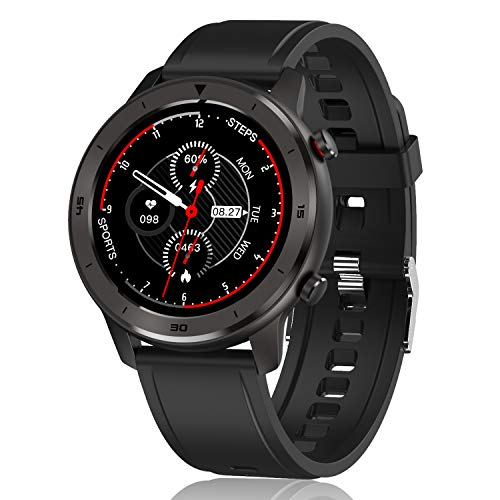 "Smart Watch, Popglory Smartwatch HR, Touchscreen 1.3"" Fitness Watch with Blood Pressure Monitor, IP68 Waterproof Fitness Watch, 15 Days Battery Life Compatible with Android Phones and iPhone"