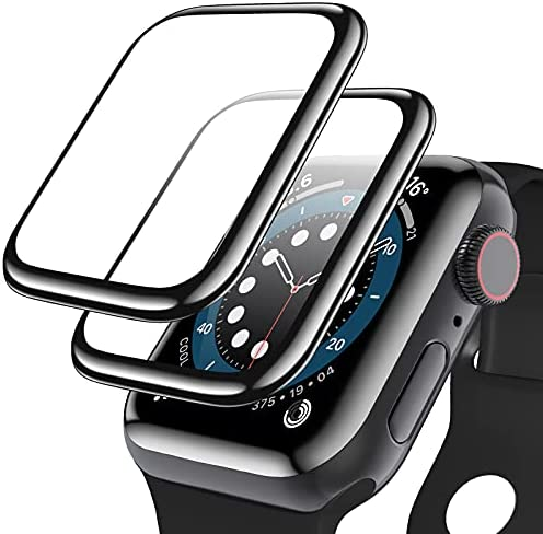[2 Pack] Geekboy Tempered Glass Screen Protector for Apple Watch Series 6/SE/5/4, 3D Curved Edge Full Coverage Protective Cover, Anti-Scratch 9H Hardness Bubble-Free HD Clear Films for iWatch 40mm