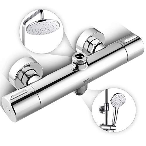 Amzdeal Duschthermostat Duscharmatur, Brausemischer Brausethermostat mit Sicherheitsknopf 38℃, Brause Thermostatarmatur mit eingebautem PPA-Kunststoffrohr, Zinklegierung verchromt