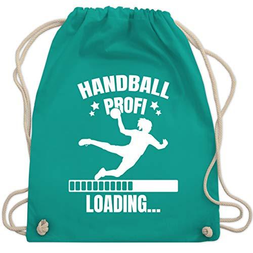 Sport Kind - Handball Profi Loading - weiß Mädchen - Unisize - Türkis - Handball Profi Loading. - WM110 - Turnbeutel und Stoffbeutel aus Baumwolle