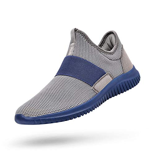 QANSI Mens Sneakers Slip-on Athletic Sports Running Walking Shoes Lightweight Workout Gym Tennis Shoes Gray/Blue 7
