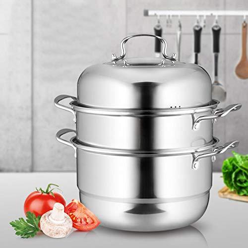 Olla vaporera, vaporera de Cocina con Compartimentos, Olla de Sopa multifunción, Acero Inoxidable Resistente al Agua para cocinar Sopa al Vapor