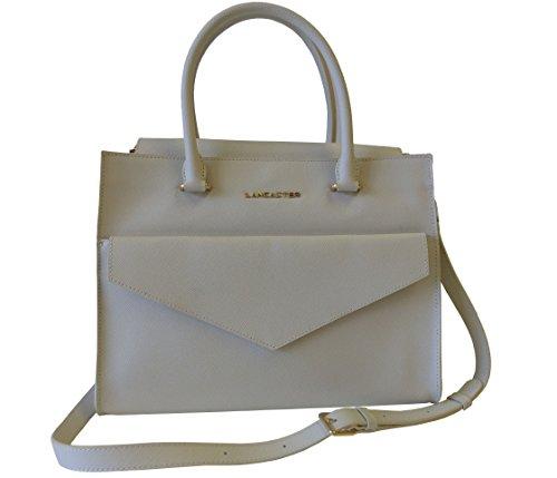 Lancaster Tasche Adeline Handbag 527-14-IVOIRE Damen Handtasche Schultertasche Umhängetasche (32 cm x 27 cm x13 cm)