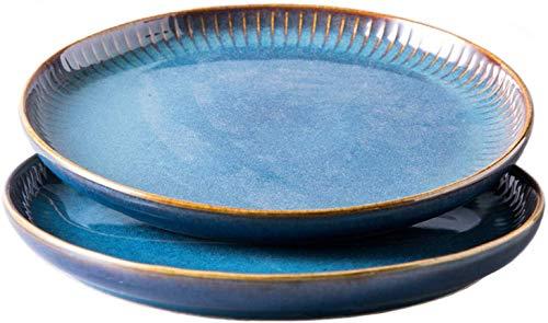 XKP 2er Set Frühstücksteller Keramik, Speiseteller runder Essteller aus hochwertigem Porzellan 21.5cm (Blau)
