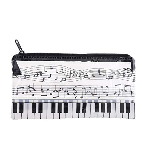 Qirun Nota Musical, Teclado de Piano, Estuche para lápices, Bolsa de plástico Transparente para bolígrafos, Regalo para Estudiantes