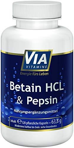 Betain HCL + Pepsin 120 vegane Kapseln, 1700mg Betain HCL, hochdosiert, in Deutschland hergestellt