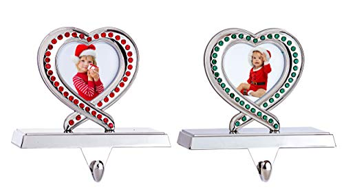 Klikel Christmas Stocking Holder - Picture Frame Stocking Holder Set - Heart Christmas Stocking Hanger with Red and Green Acrylic Crystals - Set of 2