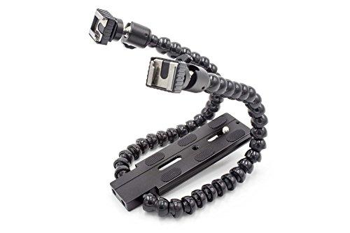 vhbw Duale Blitzhalterung, Schiene, Blitzstativ flexibel passend für Kamera, DSLR, Systemkamera, z.B. Canon, Nikon, Sony, Pentax, Olympus, Panasonic