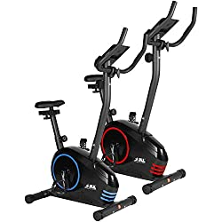 8 Levels of Magnetic Resistance and Pulse Plates Inbuilt into the Handlebars LCD Monitor: Time, Speed, Distance, Calories, Odometer and Pulse with tablet holder Adjustable handlebars can rotate 360 degree and up to 7-levels of adjustable seat height....