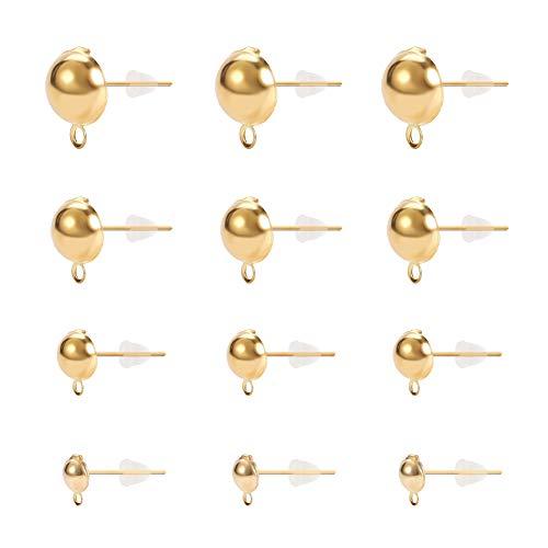 PandaHall 120 pz 4 Misure Orecchini a Perno in Ferro con Perno a Sfera Risultati per Orecchini a Bottone con Anello e Dadi per la Realizzazione di Gioielli