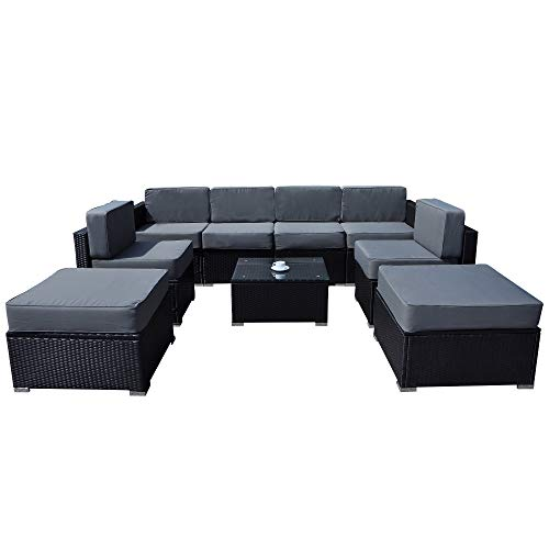 MCombo Outdoor 9-Piece Patio Wicker Sofa and Table Furniture Sectional Seating Set All-Weather with Washable Cushions and Glass Coffee Table 6082